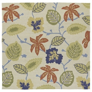 Seaside Whimsical Sand Indoor/ Outdoor Rug (7'9 x 7'9 Square) - 7'9 x 7'9