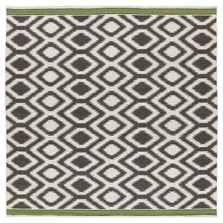 Flatweave TriBeCa Grey Geo Wool Rug - 8' Square