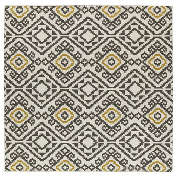 Flatweave TriBeCa Grey Motif Square Wool Rug - 8' Square