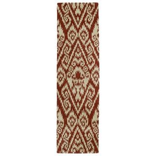 Hand-tufted Runway Brick Red/ Light Brown Ikat Wool Rug (2'3 x 8')