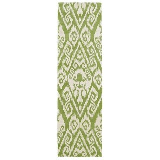 Hand-tufted Runway Green/ Ivory Ikat Wool Rug (2'3 x 8')