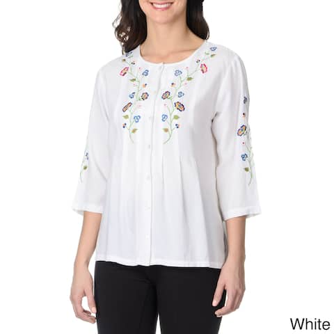 La Cera Women's Button Up Floral Embroidered Top