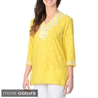 La Cera Women's Floral Embroidered Tunic Top (3 options available)