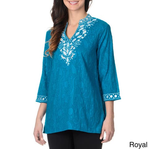 La Cera Women's Floral Embroidered Tunic Top