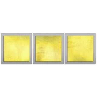 Contemporary 'Yellow Essence' Layered Metal Wall Art