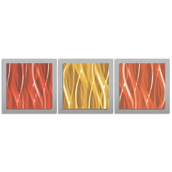 Contemporary Warm Essence Burnt Orange Red Gold Layered Metal Wall Art