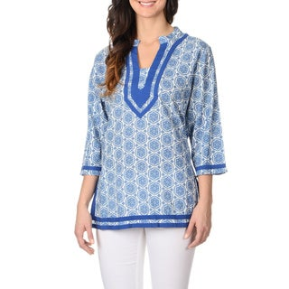 La Cera Women's Blue Medallion Print Tunic