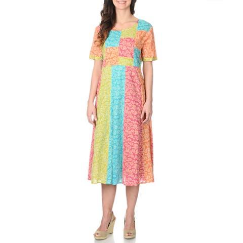 La Cera Women's Patchwork Bodice Short Sleeve Dress