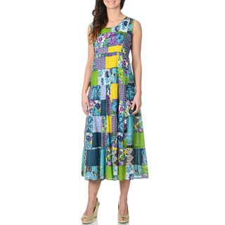 La Cera Women's Turquoise Patchwork Tank Dress