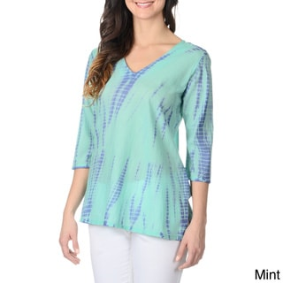 La Cera Women's Tie-dye 3/4-sleeve Tunic