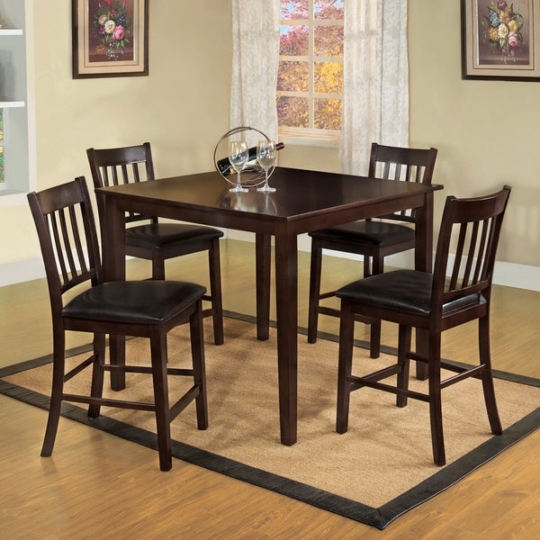 Furniture Of America Espresso West Creston Creek 5 Piece Counter Height  Dining Set