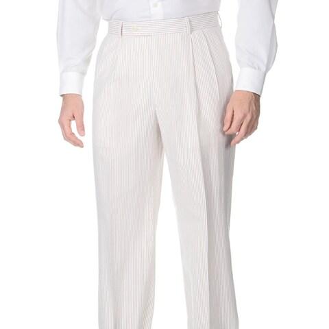 Palm Beach Men's Double Reverse Pleated Tan/ White Suit Pants