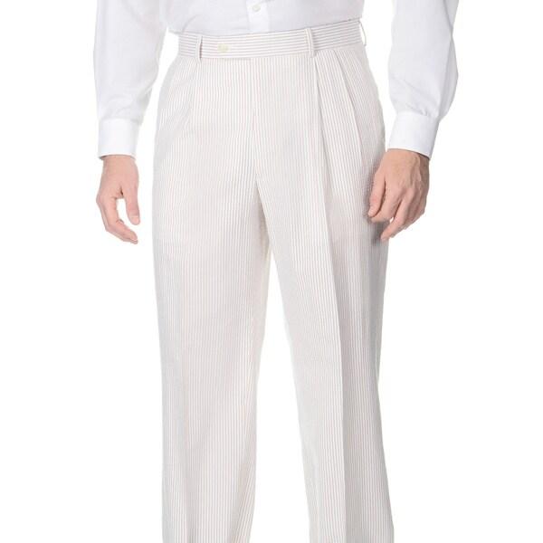 Palm Beach Men's Double Reverse Pleated Tan/ White Suit Pants. Opens flyout.