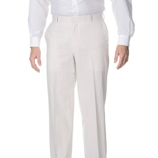 Palm Beach Men's Big and Tall Flat Front Tan/ White Suit Pants