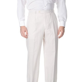 Palm Beach Men's Big and Tall Double Reverse Pleated Front Tan/ White Suit Pants