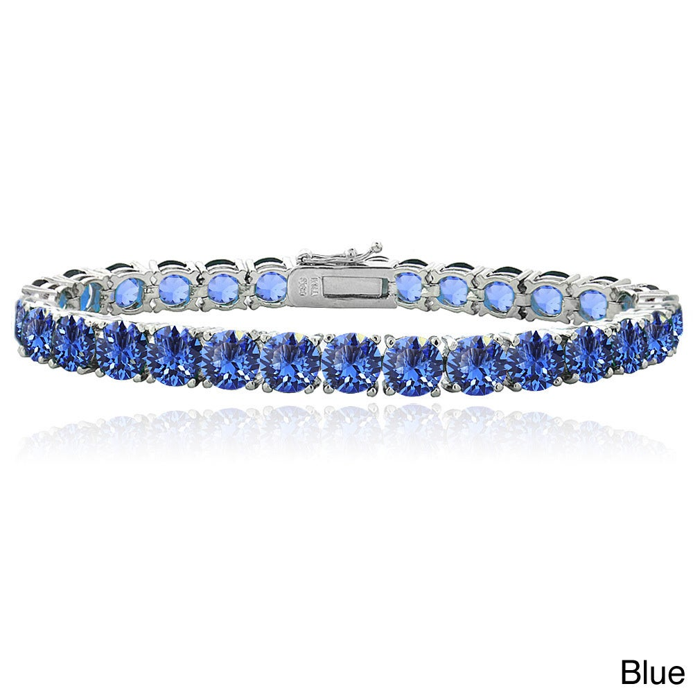 Crystal Ice Round Crystal Tennis Bracelet with Swarovski ...
