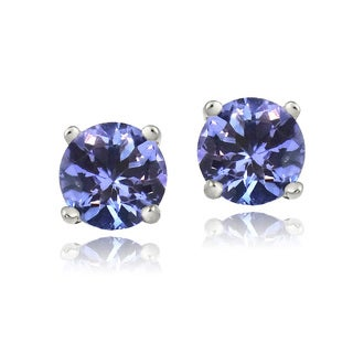 Glitzy Rocks Sterling Silver 1ct Tanzanite Round 5mm Stud Earrings