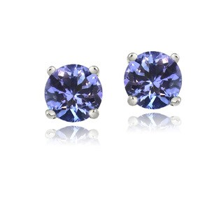 Glitzy Rocks Sterling Silver .5ct Tanzanite Round 4mm Stud Earrings