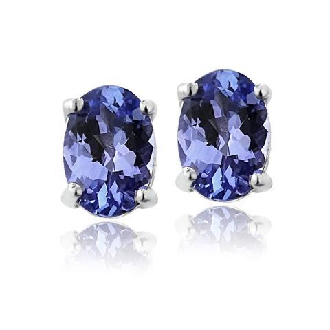 Glitzy Rocks Sterling Silver 1ct Tanzanite 6x4 Oval Stud Earrings