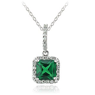 Glitzy Rocks Sterling Silver Created Emerald Necklace