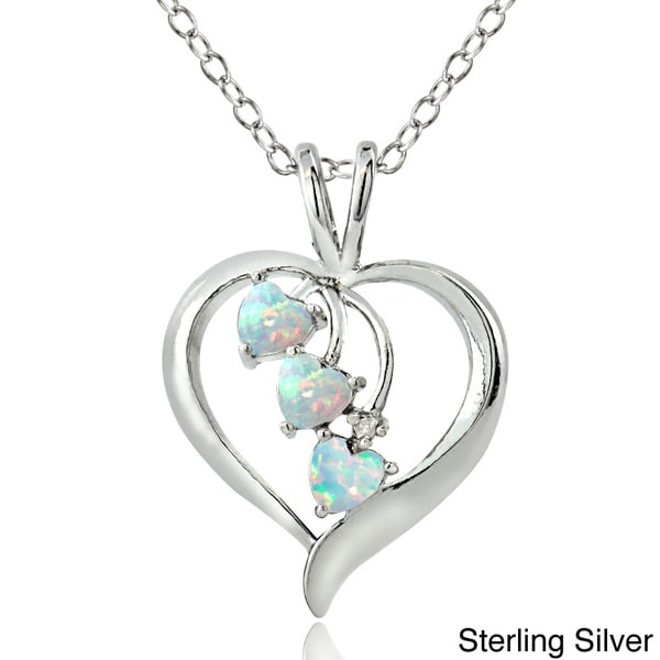 Glitzy Rocks Sterling Silver 3 Stone Created Opal And