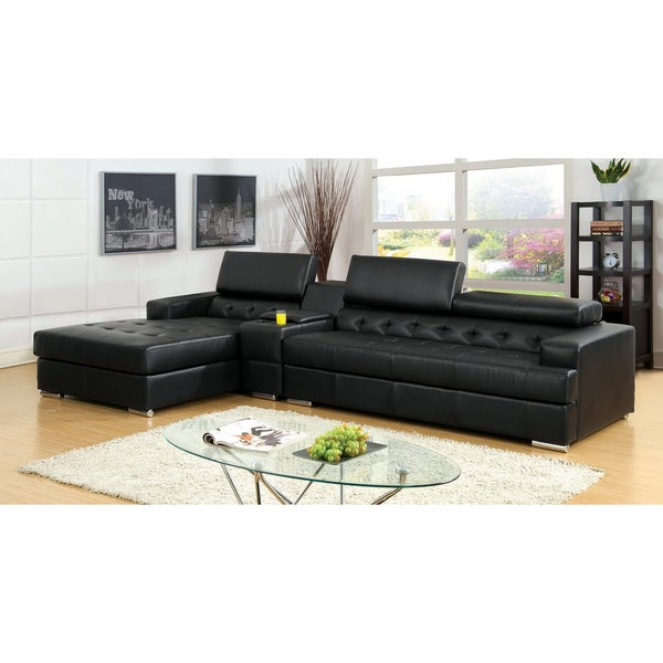 Furniture of America Flori Pneumatic Gas Lift Headrest Bonded Leather Match Sectional with Storage