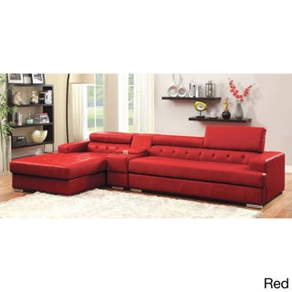 Furniture of America Flori Pneumatic Gas Lift Headrest Bonded Leather Match Sectional with Storage (3 options available)