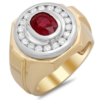 14k Yellow Gold Men's 4/5 ct TDW White Diamond and 2 ct Channel-set Ruby Ring (F-G, SI1-SI2)