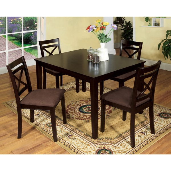 Furniture of America Zyer Modern Espresso Solid Wood 5-piece Dining Set. Opens flyout.