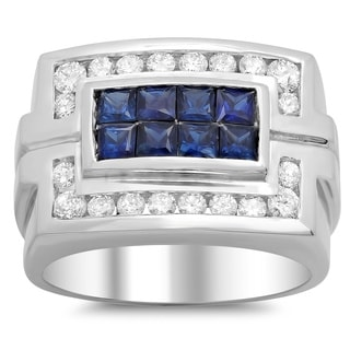 14k White Gold Men's 1/2 ct TDW White Diamond and 1 1/2 ct Sapphire Ring (F-G, SI1-SI2)
