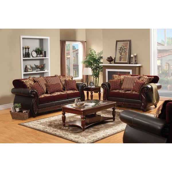 Furniture Of America Traditional Franchesca 2 Piece Fabric Leatherette Sleeper Sofa Set
