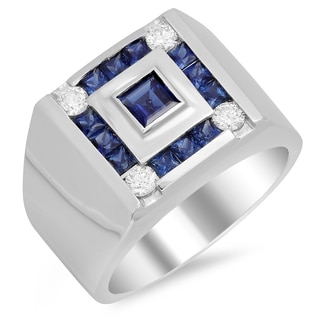 14k White Gold Men's Diamond 1/2 ct and 1 3/4 ct Sapphire Ring (F-G, SI1-SI2)