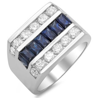 14k White Gold Men's 2 1/10ct TDW White Diamond and Sapphire Ring (F-G, SI1-SI2)