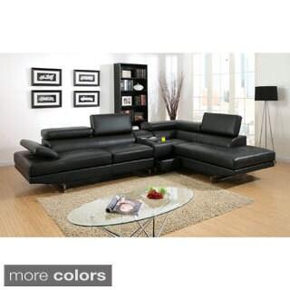 Furniture of America Kezi Contemporary Pneumatic Gas Lift Headrest with Bluetooth Storage Console Se