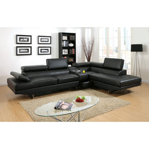 Furniture of America Kezi Contemporary Black Sectional with Console