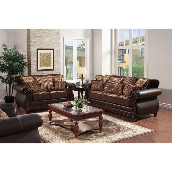 Furniture Of America Traditional Franchesca 2 Piece Fabric Leatherette Sofa Set