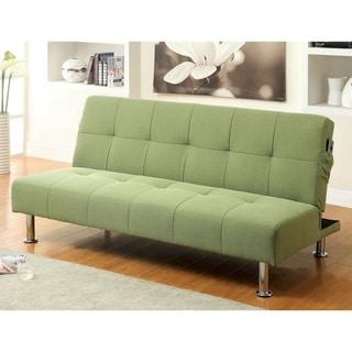 furniture of america willbry spring contemporary flax fabric futon sofa cream futons for less   overstock    rh   overstock