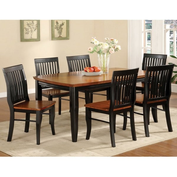 Furniture of America Gulf Mission Oak Solid Wood 7-piece Dining Set