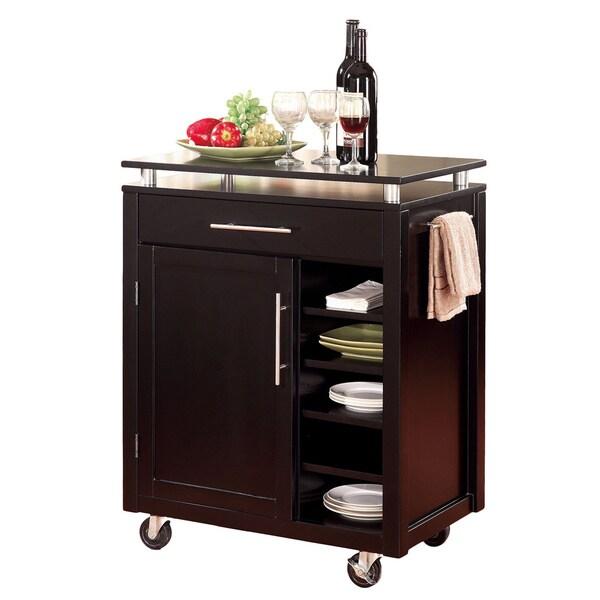Coaster Company Cappuccino Finish Compact Kitchen Cart
