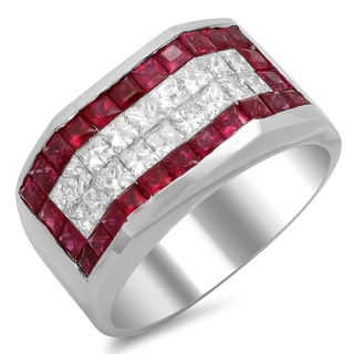 14k White Gold Men's 1 1/2 ct TDW Diamond and 3 ct Ruby Ring (F-G, SI1-SI2)