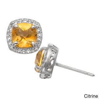 Gioelli Sterling Silver Gemstone and Created White Sapphire Accent Stud Earrings