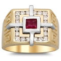 14k Two-tone Gold Men's 3/4 ct TDW White Diamond and 5/8 ct Ruby Ring (F-G, SI1-SI2)