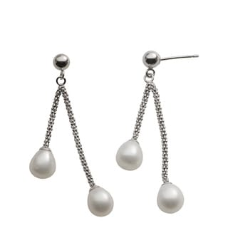 Pearls For You Sterling Silver White Freshwater Drop Pearl Dangle Earrings (7.5-8 mm)