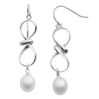 Pearls For You Sterling Silver White Freshwater Drop Pearl Ribbon Dangle Earrings (8.5-9.5 mm)