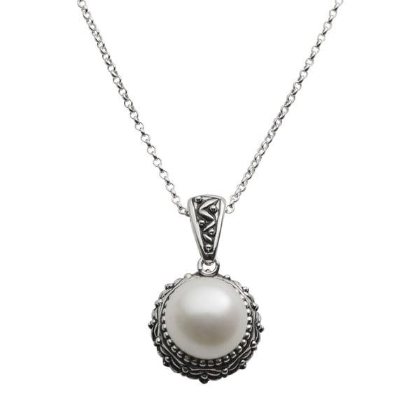 ef5f81055 Pearls For You Oxidized Sterling Silver White Freshwater Pearl Pendant  Necklace (11.5-12 mm