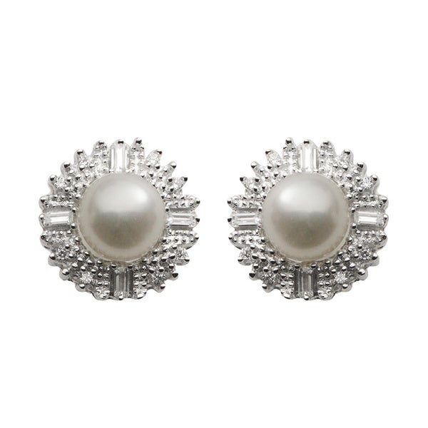 Pearls For You Sterling Silver White Freshwater Button Pearl & Cubic Zirconia Halo Stud Earrings (7-7.5 mm)