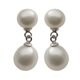 Pearls For You Sterling Silver White Freshwater Button and Drop Pearl Dangle Earrings (7-8 mm, 6-7 mm)