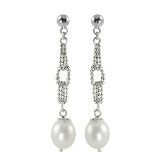 Pearls For You Sterling Silver White Freshwater Drop Pearl Dangle Link Earrings (7.5-8 mm)