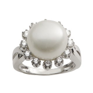 Pearls For You Sterling Silver White Freshwater Button Pearl & Cubic Zirconia Ring (12-12.5 mm)