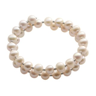 Pearls For You Sterling Silver Natural Lavender Freshwater Pearl & Silver Bead Coil Bracelet (6-7 mm)